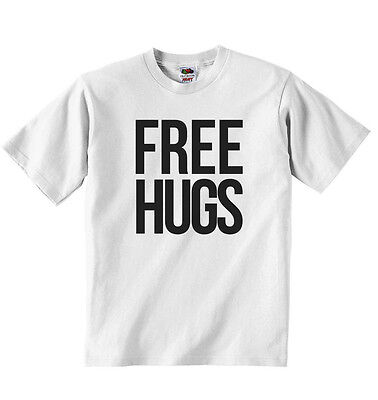 Free Hugs - New Personalized Boys Girls T-shirt Tees - White Soft Cotton