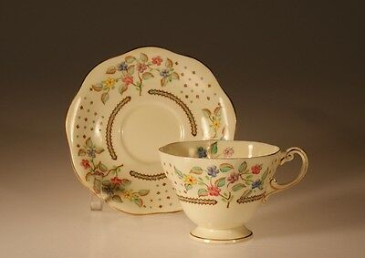 Foley China Handpainted Floral Spray Cup and Saucer , c. 1950s