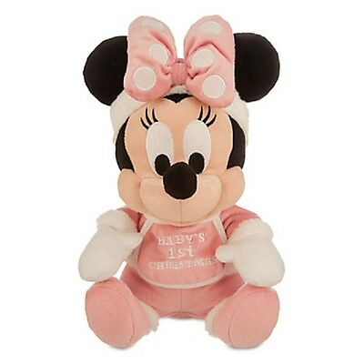 """Disney Parks Authentic Minnie Mouse Holiday Plush """"baby's 1St Christmas"""" 9"""" H"""