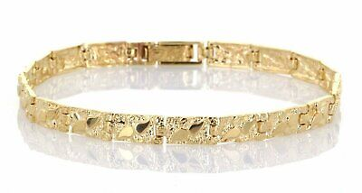 """New Solid 14K Yellow Gold Nugget Style Adjustable Bracelet 7"""" 5.5 mm 11.3 Grams"""