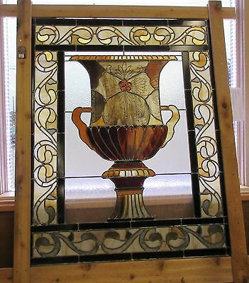 LARGE LEADED STAINED GLASS PANEL WINDOW Urn Vase 4x5' Pickup in Lake Dallas TX