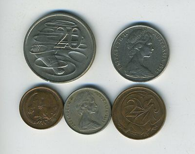 Australia - Lot of 5 Coins - 1, 2, 5, 10 & 20 Cents - Exotic Animals - Lot - #21