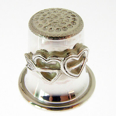 Silver Bell Shaped Thimble. Hallmarked Sterling Silver Thimble With Twin Hearts