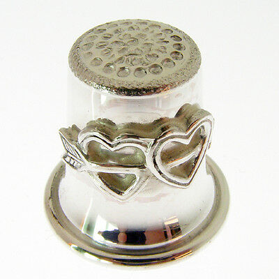 Silver Thimble With Twin Hearts.  Hallmarked Sterling Silver Bell Shaped Thimble