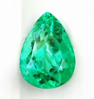 Lab Created Hydrothermal Colombian Emerald Green Loose stone Pear (5x3-16x12mm)