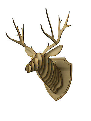 Large/ Small Wooden Deer Head Wall Art Hanging 3D Stag Head Antlers Home Decor