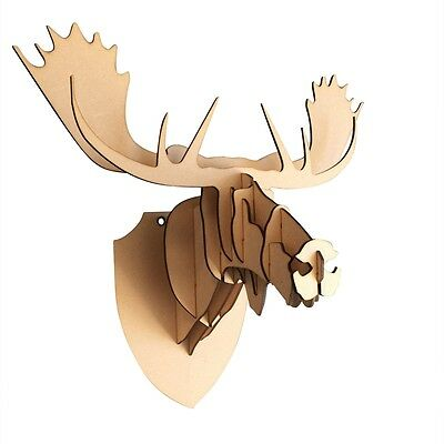 L/ S Wooden Moose Trophy Animal Head 3D Wall Art Decor- Home Decor Wall Hanging