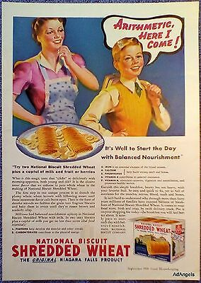 1939 National Biscuit Shredded Wheat Boy To School Arithmetic Here I Come ad