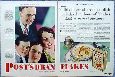 1930 Post Bran Flakes Cereal Fagged Fretful Weary Worn Out Family Breakfast ad