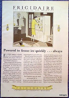 1928 Frigidaire Refrigerator Powered To Freeze Ice Quickly Choice Of Majority ad