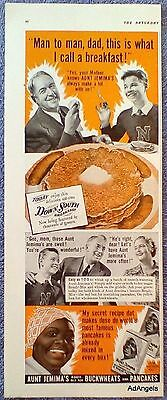 1940 Aunt Jemima Pancakes Father Son Man To Man I Call Breakfast Down South ad