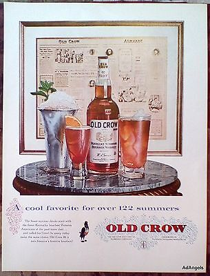 1957 Old Crow Whiskey Framed Almanac Page Cool Favorite 122 Summers Drinks ad