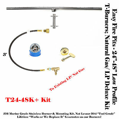 T36K+: 36″ T-Burner Complete For Plumbed Natural Gas/lp Deluxe Fire Table Kit
