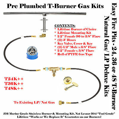 36″ T-Burner For Plumbed Natural Gas Or Propane/lp Deluxe Fire Table Kit / Pit