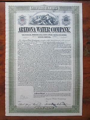 1899 Arizona Water Company Thousand Dollar Gold Bond W/embossed Seal