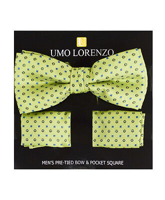 Elegant Yellow Banded Bow tie and Matching Hanky Set (BTH4051)