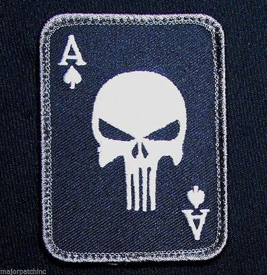 Punisher Ace Of Spades Death Card Usa Army Tactical Swat Ops Hook Morale Patch