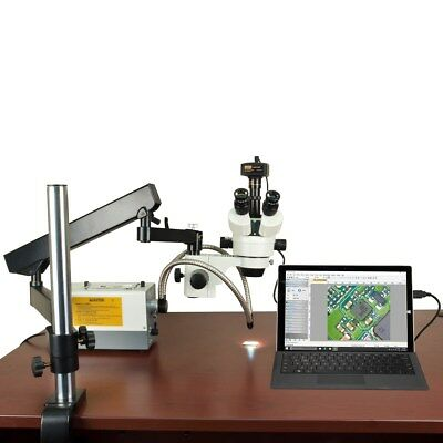 OMAX 2.1X-270X Articulating Microscope with 150W Cold Light and 14MP USB Camera