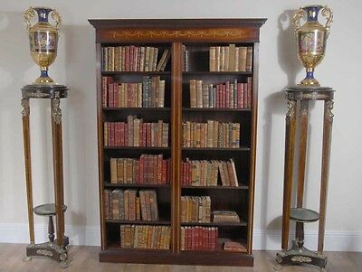Double English Mahogany Sheraton Inlay Open Front Bookcase
