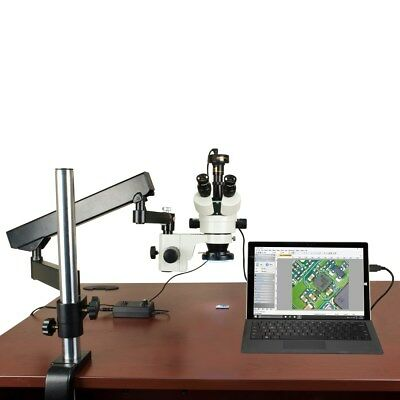 OMAX 3.5X-90X Articulating Stereo Microscope with 144 LED Light and 9.0MP Camera