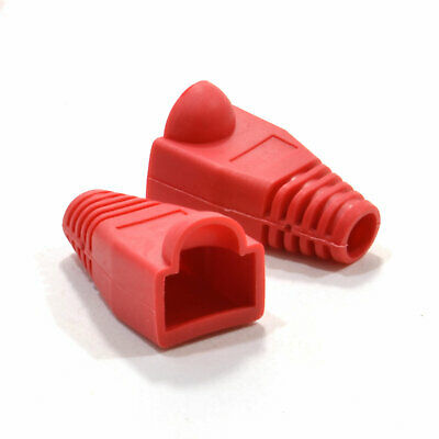 Boots for RJ45 Cat5e Ethernet Network Cables RED [Pack of 10] [007855]