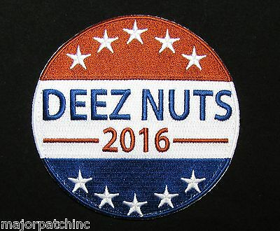 Vote 4 Deez Nuts For President 2016 Usa Army Morale Tactical Badge Hook Patch