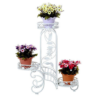 Plant Planter Stand Indoors or Outdoors White Metal Home Garden Decor Flower Pot