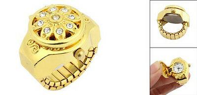 Round Dial Crystal Flower Elastic Band Finger Ring Watch for Lady GY