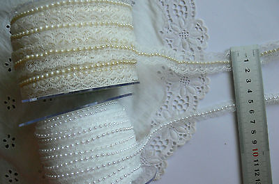 LACE with PEARL CENTRE - Ivory 20mm & White 11mm - 2 Metre Lengths MultiList