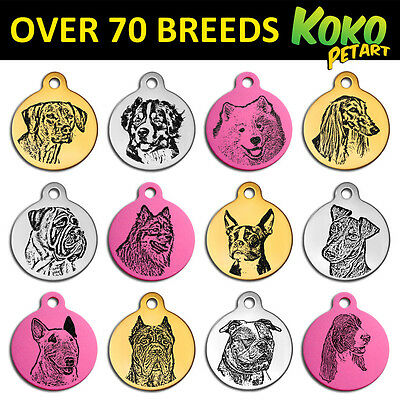 Personalised Engraved 31mm Round Aluminium More Popular Dog Breeds Pet Tag +Ring