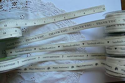 Mixed Words Cotton Ribbon 3 Mtr Length 21mm Wide BLACK Print 5 Style Choice BR1