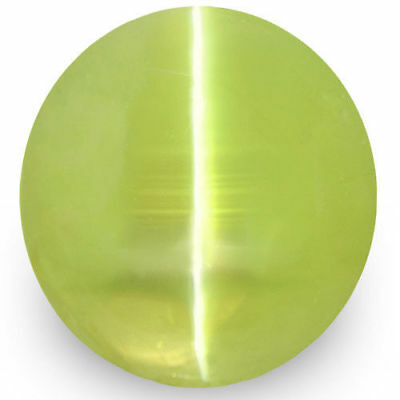 5.35-Carat Lively Greenish Yellow Chrysoberyl Cat's Eye with Sharp Cat's Eye
