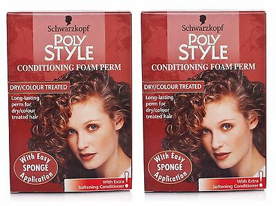 2 x Schwarzkopf Poly Style Conditioning Foam Perm Dry/Coloured Hair
