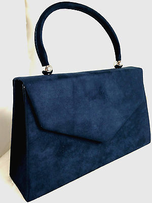 New Navy Blue Faux Suede Evening Day Clutch Bag Top Handle Vintage  Xmas Party