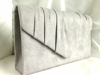 New Light Grey Faux Suede Evening Day Clutch Bag Shoulder Xmas Club Party Prom