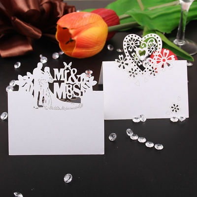 50 Mr Mrs Heart Table Place Setting Name Cards Wedding Favours Party Table Decor