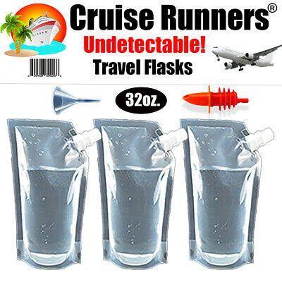 Cruise Flask Kit Rum Runners Alcohol Liquor Smuggle Sneak Booze Wine Plastic Bag