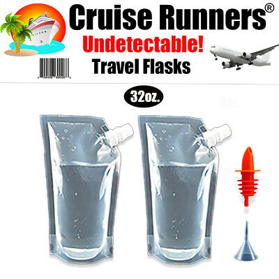 CRUISE SHIP FLASK KIT 3 Pc. RUM RUNNERS ALCOHOL LIQUOR SMUGGLE SNEAK BOOZE GIFT