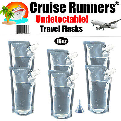 Cruise Flask Kit 5 - 16oz Runners Rum Smuggle Sneak Alcohol Liquor Wine Booze
