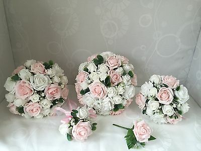 Wedding Flowers Ivory Rose bouquet , Bride, Bridesmaid, Flower Girl wand pink