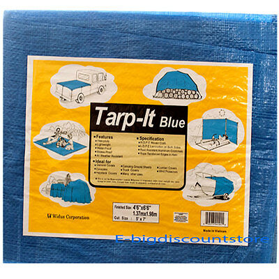 Blue Tarp All Weather Reinforced Tarpaulin Canopy Tent Shelter Cover Car Boat