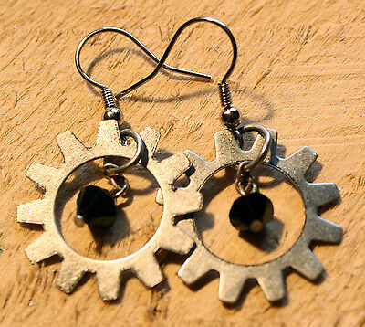 Steampunk Gearpunk Earrings ~ Antique Silver Tone ~ Black Gem Gear Ring Metal