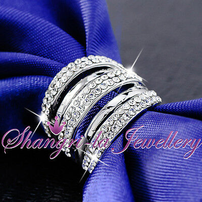 18K White GOLD GP Womens Wide SILVER WRAP RING PARTY SWAROVSKI CRYSTAL R2091 NEW