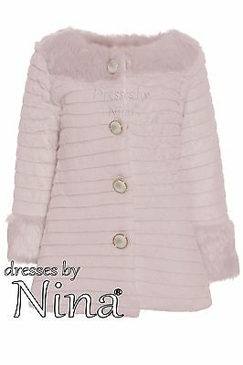 Girl Quality Coat / Fur Jacket / Pink Coat Fur Trim 2 to 12 *Limited Edition*