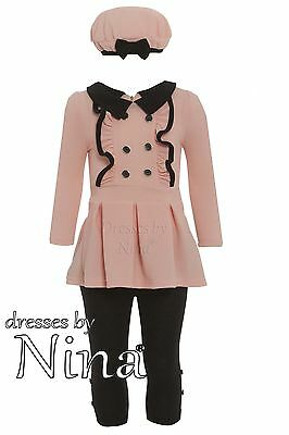 Girl Quality Dress Outfit Baby Pink Black Long Sleeve Dress Leggings 3mth to 3yr