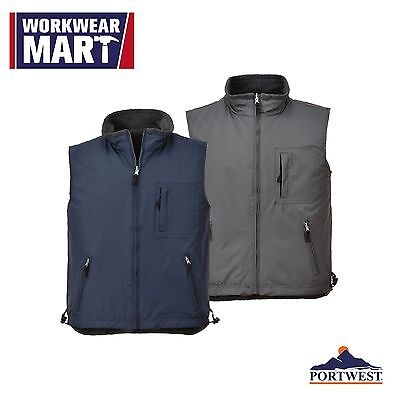 Sleeveless Bodywarmer Reversible Vest Work Gilet Waistcoat 2 in 1 Portwest US418