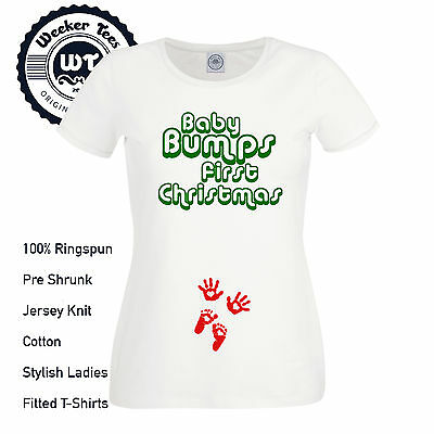Baby Bumps First Christmas T Shirt New Pregnancy Xmas Top Maternity Gift S - XXL