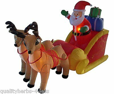 6' Inflatable Santa Claus Sleigh W/Reindeer Lighted Outdoor Christmas Decoration