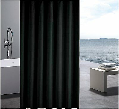 Solid Black Shower Curtain 2m Long - Free Shipping New