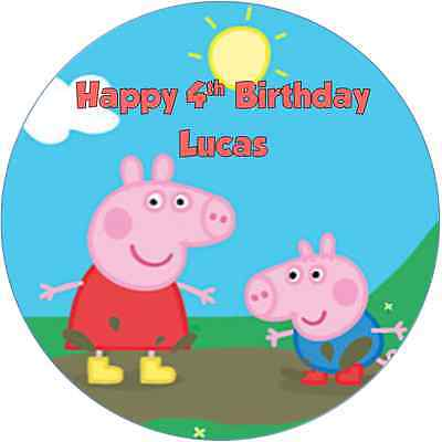 Personalised 19cm Peppa Pig Edible Wafer Paper Cake Topper